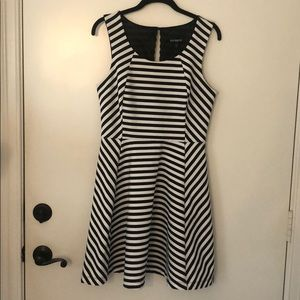 Express black/white stripe A line dress